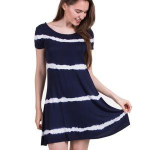 Stripe Tie Dye Dress, Navy/White